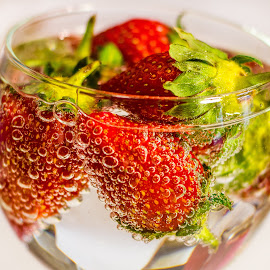 Strawberries by Claire S - Food & Drink Fruits & Vegetables ( water, red, food, drink, strawberries, bubbles, fizzy, fizz, berries,  )