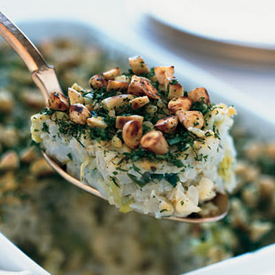 Cauliflower-Leek Kugel with Almond-Herb Crust