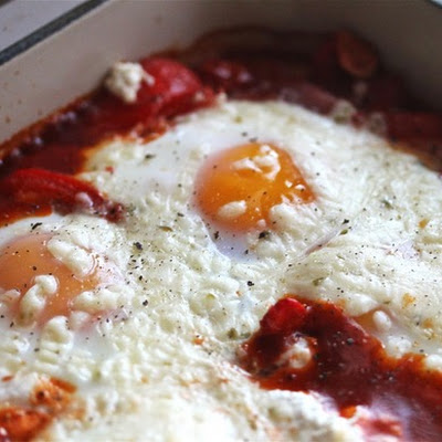 Portuguese Baked Eggs With Chorizo and Ricotta