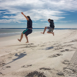 Incoming! by David Stone - Sports & Fitness Other Sports ( sand, 2 boys, jumping, summer, crane beach, beach, running, activity,  )