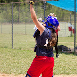 Your OUT! by Jacenta Grover - Sports & Fitness Other Sports ( girls, red sox, catcher, softball, out )
