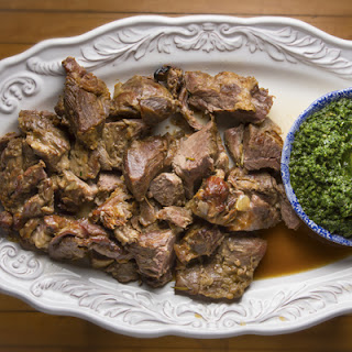 Slow-Cooked Lamb Shoulder with Pounded Herbs and Green Garlic