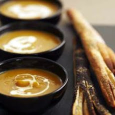 Halloween Pumpkin Soup With Breadstick Broomsticks