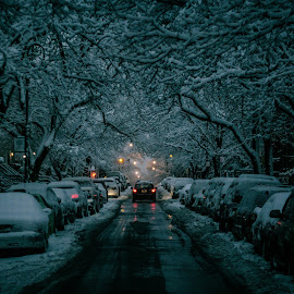 Dark snowy night !! by Leroy Kimbrough - City,  Street & Park  Street Scenes