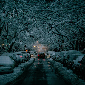 Dark snowy night !! by Leroy Kimbrough - City,  Street & Park  Street Scenes ( winter, cold, snow )