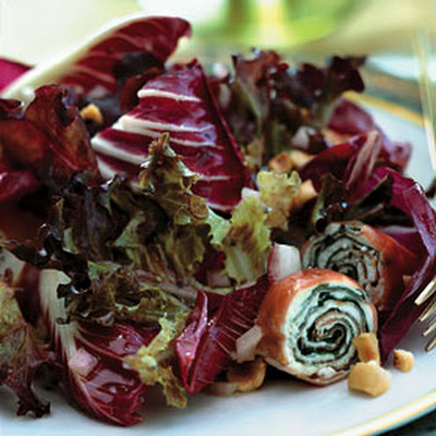 Bronze and Red Lettuce Salad with Serrano Ham and Goat Cheese Spirals