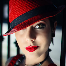 Red Beauty by Justine Joy - People Fashion ( brown eyes, red, woman, lovely, red hat, close up, portrait, red lipstick, fedora,  )