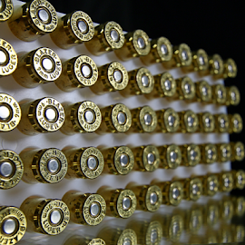 by Dipali S - Artistic Objects Other Objects ( ammunition, copper, cartridge, explosive, lead, 9mm, equipment, shape, close-up, fire power, danger, pattern, metal, weapon, selective focus, caliber, power, brass, metallic, bullet, bullets )