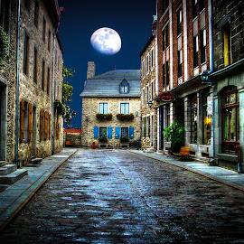 Quebec City by Moonlight by Phil Deets - City,  Street & Park  Night ( moon, quebec, canada, dark, moonlight, historic )