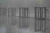 Teddington lock in fog