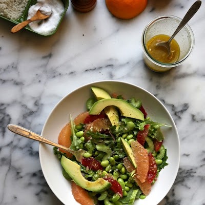 Bonkers Awesome Avocado Grapefruit and Edamame Salad