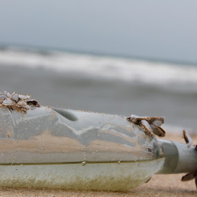 Bottle at the Beach by Shafiq Azli - Artistic Objects Still Life ( keluang, glass, beach, view, landscapes. )