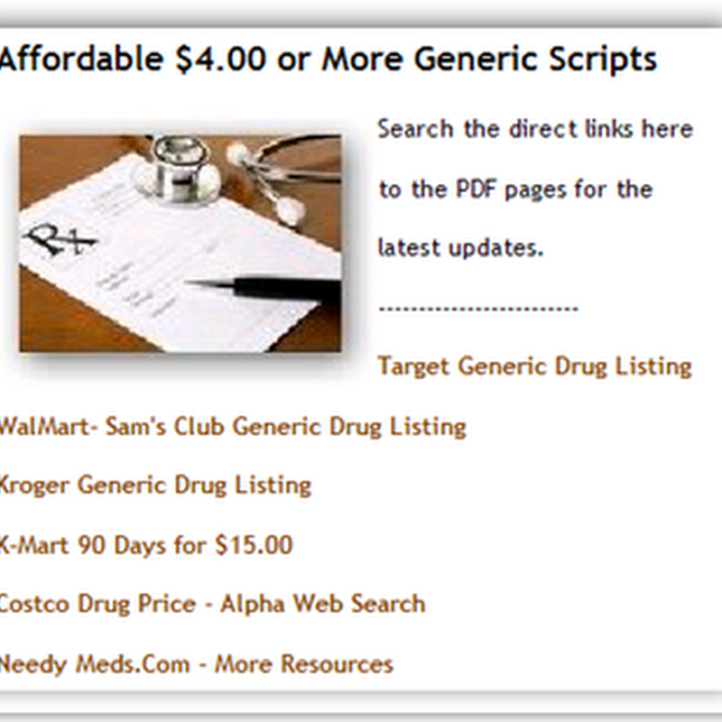 $4.00 Generic Prescription Resources on the Site