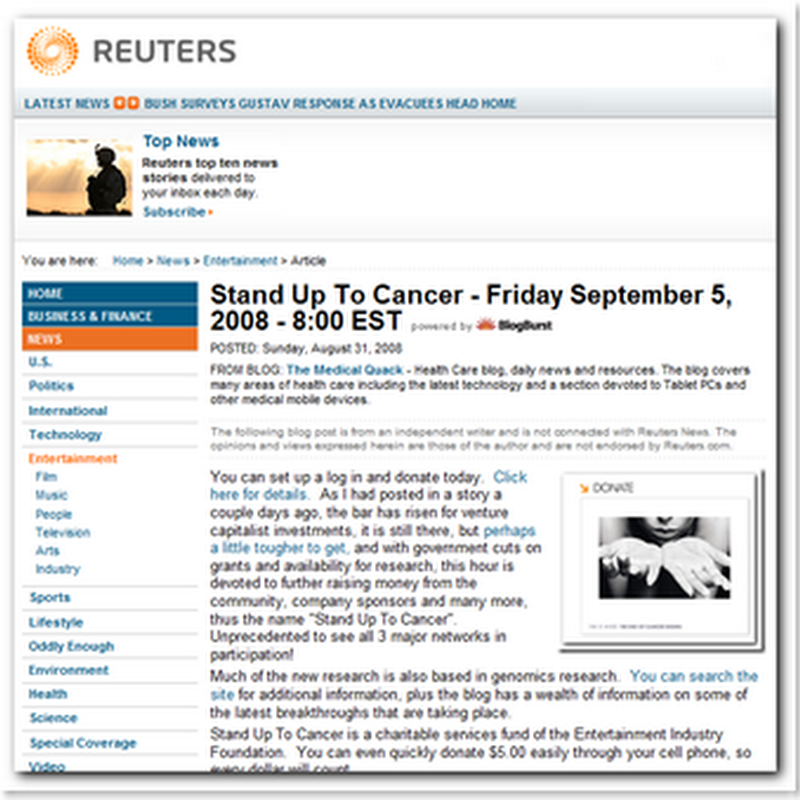 Medical Quack at Reuters - Stand Up to Cancer - this Friday