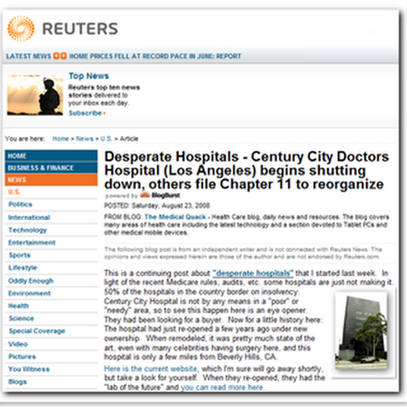 """""""Desperate Hospitals"""" - As Featured on Reuters"""
