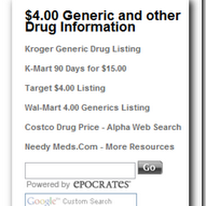 Generic Drug Resources - Thanks to the Palm Beach Post and the Chicago Sun Times for helping spread the word...
