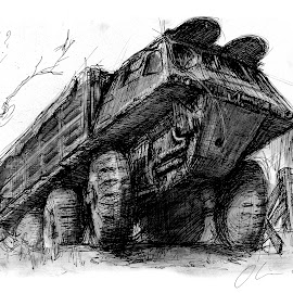 Stalwart by Oliver Cook - Drawing All Drawing ( pen, army, charcoal, transport, truck, vehicle, transportation, classic, ink, military )