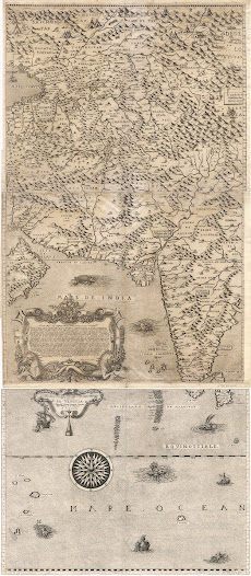 Jacobo GASTALDI (1500-1566) /  Giovanni Battista RAMUSIO (1485-1557).  [India]. Seconda Tavola. Venice, 1554. Woodcut map, 29.2 x 42 cm.  One of the first maps to focus on the Indian Peninsula, by Giacomo Gastaldi, issued in Venice and based on Portuguese sources.   This attractive Venetian map is focused on Peninsular India, although its coverage extends from Sumatra to the Persian Gulf.  It employs an 'upside down' southward-oriented perspective, which was not unusual during the 16th Century.  The Indian Peninsula appears as a broad, evenly shaped triangle, somewhat stylized from reality, but still familiar to the modern viewer.