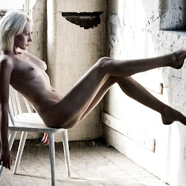 Iveta Warehouse by Mark Wood - Nudes & Boudoir Artistic Nude ( chair, blonde, sitting, nude, industrial )