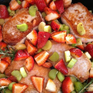 Pan Seared Pork Chops with Roasted Strawberry-Rhubarb Compote