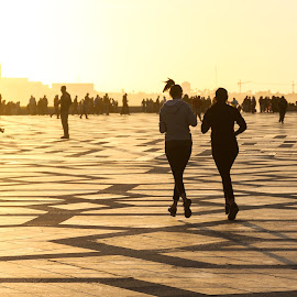 Golden Time by Mohamed Bouanga - People Couples ( girls, time, sport, couple, crepuscule, running, golden,  )