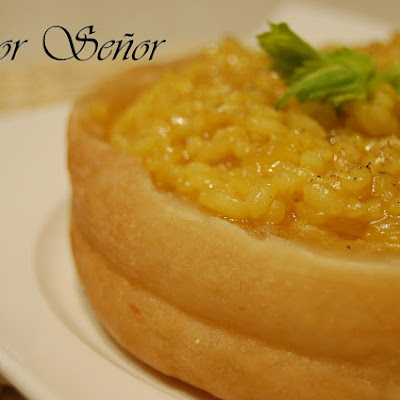 Risotto in a Torta del Casar Cheese Crust