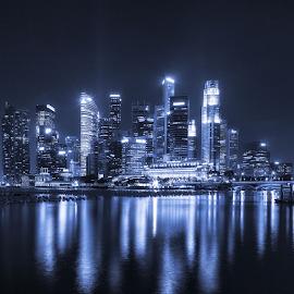 Neo Singapore by Rio Tanusudiro - City,  Street & Park  Night ( lights, bay, blue, neon, dark, night, travel, cityscape, square, singapore, city, nightscape )