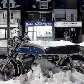 Snow Machine by Roy Morra - City,  Street & Park  Street Scenes ( urban, blue, toronto, street, chrome, snow, white, motorcycle, night, city )
