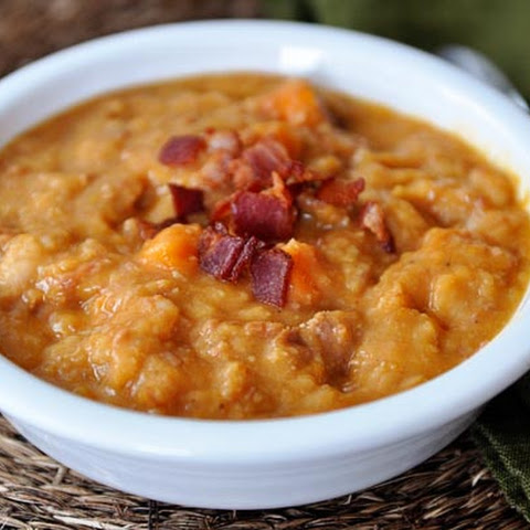 Ham, Sweet Potato and White Bean Soup with Bacon {Slow Cooker}