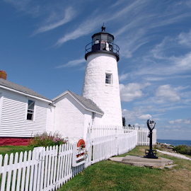 Lighthouse by Tony Huffaker - Buildings & Architecture Public & Historical ( shore, maine, lighthouse, atlantic, closeup )