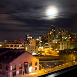 Window View by Amit Aggarwal - Buildings & Architecture Office Buildings & Hotels ( city scape, moon light, minnesota, window view, aloft hotel, minneapolis, usa, united states )