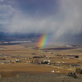 Passing Rain by Gabriel Gutierrez - Landscapes Prairies, Meadows & Fields ( field, travel, rainbow, rain, eastern washington,  )