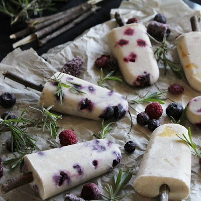 Coconut Milk Popsicles With Fresh Fruit & Herbs