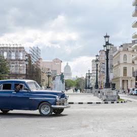 by Azaria Chavira - City,  Street & Park  Street Scenes ( american classic car, streetscape, street, cityscape, street view, havana, capital, cuba )