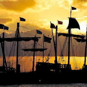Nina and Pinta at Dusk by Drew Tarter - Transportation Boats ( tall ships, sailing ships, sunset, dusk, schooner,  )