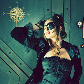 Pirate pose by Ken Aponte - People Fashion ( eye patch, victorian, rapture, compass, steampunk )