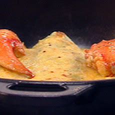 Baked lobster pancake with mustard and Gruyere bechamel