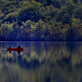 FIshermen by Deborah Wagner - People Street & Candids ( nature, trees, lake, fishing, men, boat, woods )