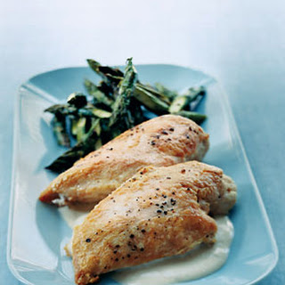 Roast Chicken with Asparagus and Tahini Sauce