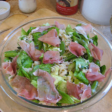 Pasta With Peas, Asparagus, Butter Lettuce and Prosciutto