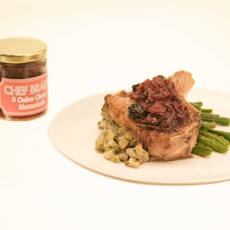 Stuffed Pork Chop with Three-Onion Cherry Jam and Buttered Green Beans