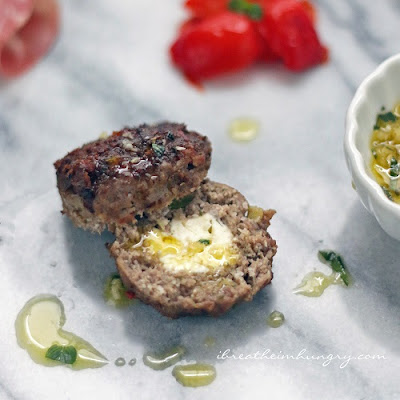 Feta Stuffed Antipasto Meatballs – Low Carb and Gluten Free