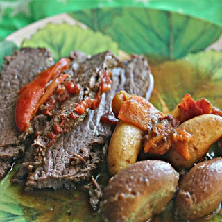 Tangy Slow Cooker Brisket With Potatoes and Sweet Peppers