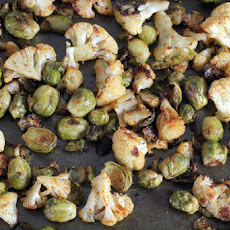 Curry Roasted Brussels Sprouts and Cauliflower