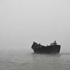 Foggy Winter Morning by Emon  Jaman - Nature Up Close Water ( water, foggy, winter, weather, transportation, boat,  )