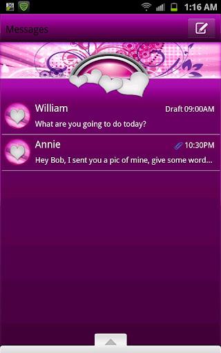 GO SMS - Fusion Purple Hearts
