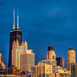 Chicago Gold Coast by Fred Faulkner - City,  Street & Park  Skylines ( river north, skyline, hancock center, gold coast, twilight, chicago, 900 north michigan, park hyatt, one magnificent mile, golden hour,  )