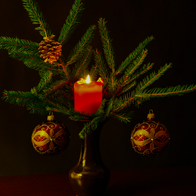 by Irena Gedgaudiene - Public Holidays Christmas ( candle, decoration, dark, christmas, fir, flame,  )