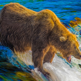 Gotcha! by Robert Arrington - Digital Art Animals ( bears, alaska, kodiak, brooks falls, katmai )