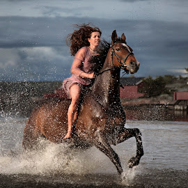 Happy by Lys Bra - Sports & Fitness Other Sports ( hvaler, water, ride, horses, østfold, asmaloy, ostfold, norway, fredrikstad, action hvaler, woman, asmaløy, skibstad sand, norge )